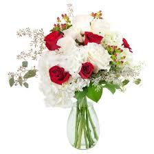 Arranging Roses In Vase Kabloom Cherry On Top Roses And Hydrangea Fresh Flower Arrangement
