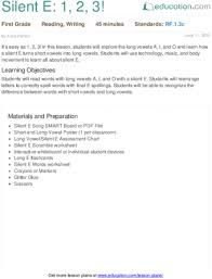silent e 1 2 3 lesson plan education com