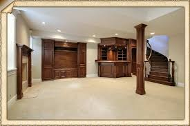 basement modern home design idea with wooden stairs and