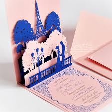 Pictures Of Wedding Invitation Cards Pop Up Wedding Invitations Lovers Of Paris Eiffel Tower Card