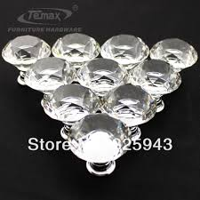 30pcs 30mm clear zinc glass crystal knobs and handles cabinet