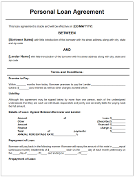 Personal Loan Documents Template personal loan agreement printable agreements loan