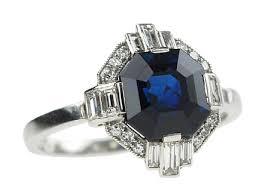 diamond ring art deco platinum diamond sapphire ring