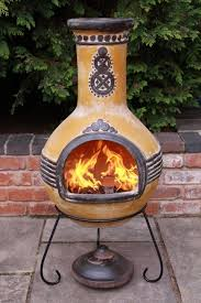 Clay Chiminea Bbq Traditional Clay Chiminea Decorative Motifs Patio Furniture Ideas
