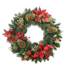 24 pre decorated red poinsettia and gold pine cone artificial