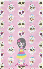 sugar skulls finger tip towel print personalized