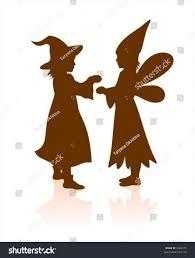 two dark childrens silhouettes halloween dress stock vector