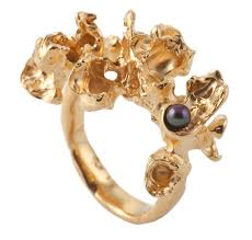 pearl rings london images Handcrafted organic blossom gold pearl ring hand craved wax rings png