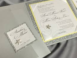 elegant silver and yellow beach themed wedding invitation by tangé