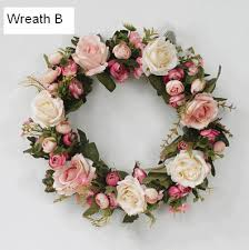 flower wreath pink and roseo flower wreath artificial silk flower wreath