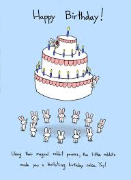 funny birthday rabbit cards with blue background colors and cake