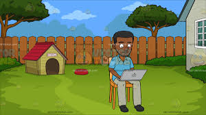 a black man using a laptop for research at a dog house in the