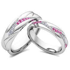 pink wedding rings his matching wedding bands 18k gold pink sapphire diamond ring