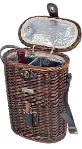 wine picnic baskets vineyard collection willow basket 2 bottle wine cooler