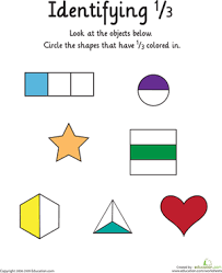 identifying the fraction 1 3 worksheet education com