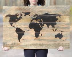 Map Home Decor Rustic World Map Etsy