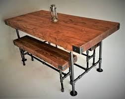 Industrial Dining Table 8 U0027 Industrial Dining Table Butcher Block Top