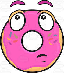 toast emoji donut with wondering look on face emoji cartoon clipart vector toons