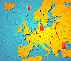 European Weather Map by Imaginary Weather Chart Of Europe With Isobars Royalty Free
