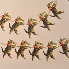 garland christmas cat mamelok papercraft embossed diecut