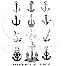 clipart of black and white and gray nautical anchor designs