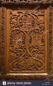 carved wood panel shield coat arm relief antique scotland scottish