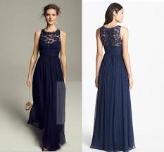 navy blue lace bridesmaid dress 2014 lace chiffon bridesmaid dresses crew neckline sleeveless