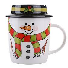 Buy Coffee Mugs Aliexpress Com Buy Cartoon Santa Snowman Ceramic Christmas