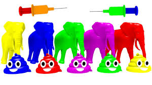 learn colors with animal syringe toilet with elephant for