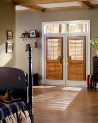 patio door coverings stained heritance hardwood shutters with