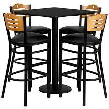 Square Bar Table 30 Square Black Laminate Table Set With 4 Wood Slate Back Metal