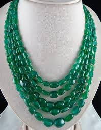 emerald gemstone necklace images 17mm 5line 765cts natural zambia emerald beads cabochon ladies jpg