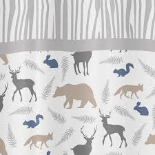 Animal Shower Curtain Woodland Animals Kids Bathroom Fabric Bath Shower Curtain Only 39 99