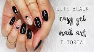 cute black u0026 clear gel nail art tutorial summer 2017 youtube