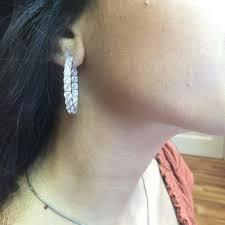 earrings on ear oval diamond gold platinum inside out hoop earrings for sale at