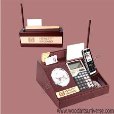 Executive Desk Organizer Wood Executive Desk Organizer With A Clock Calculator Wami14