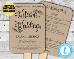rustic wedding fan programs printable wedding program template kraft paper wedding program