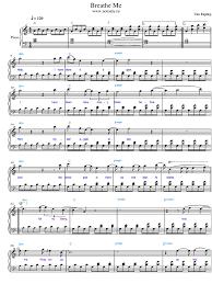 Chandelier Sia Piano Sheet Music Breathe Me Piano