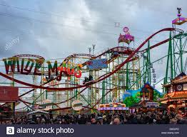 roller coaster ride at winter hyde park stock photo