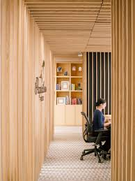 wooden slats surround reception at paperless post u0027s manhattan