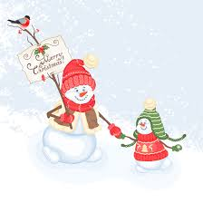 cute snowman and christmas vector 1 eps format free vector