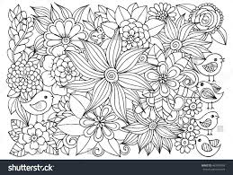 vector coloring page floral pattern birds stock vector 463740959