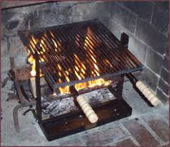 Cooking Over Fire Pit Grill - fireplace cooking