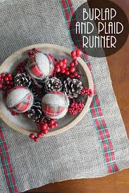 burlap and plaid table runner for the country chic cottage