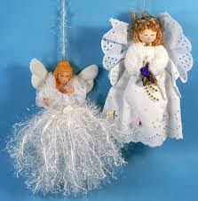 christmas angel ornaments set of two bisque lace handcrafted