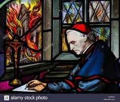 stained glass window depicting cardinal mercier 1851 1926 stock