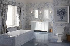 Toile Bathroom Wallpaper by Blooming Toile Bathroom With Open Shower Ledge