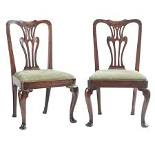 pair 18th century english anne oak occasional chairs for