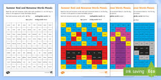 summer phase 4 phonics mosaic activity sheets cluster blend