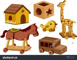 wooden toys illustration different wooden toys white background stock vector